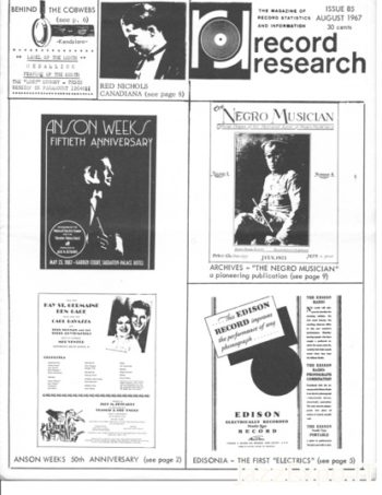 RECORD RESEARCH Issue 85 - August 1967